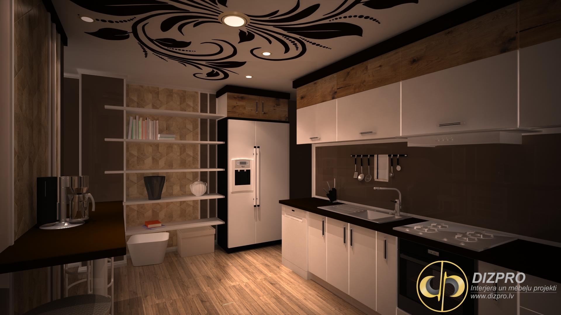 virtuves iekārta vidēja izmēra — virtuves dizains — interjera dizains — dizpro.lv